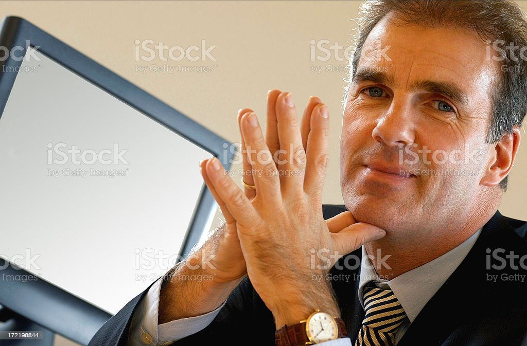 Man and his screen royalty-free stock photo