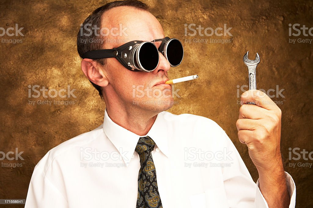 Man and his tool royalty-free stock photo