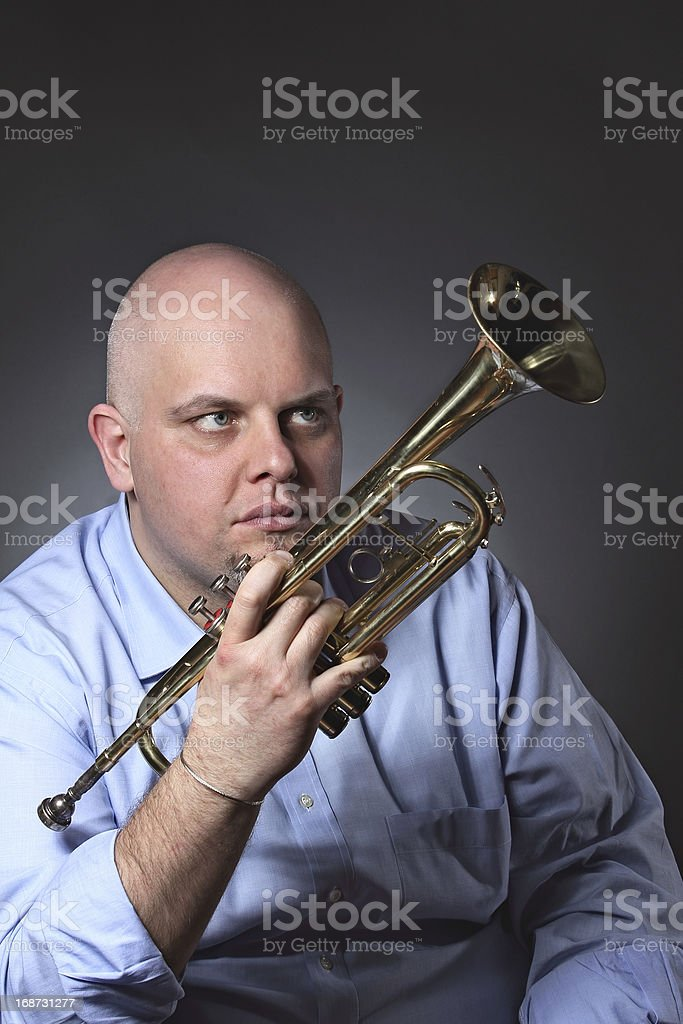 Man and his trumpet portrait royalty-free stock photo