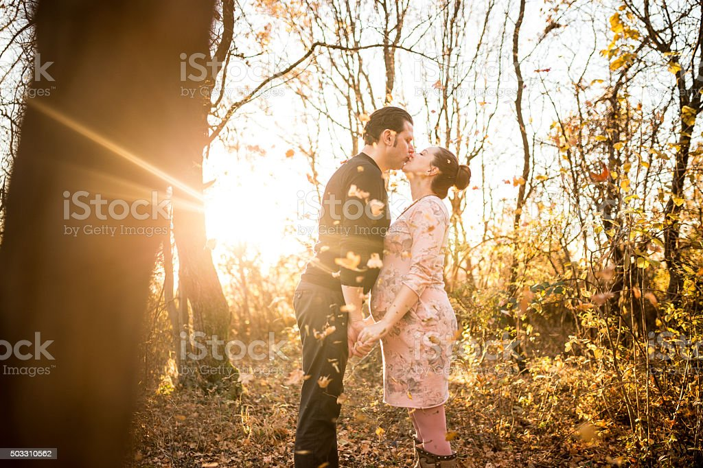 Man and his wife in love stock photo