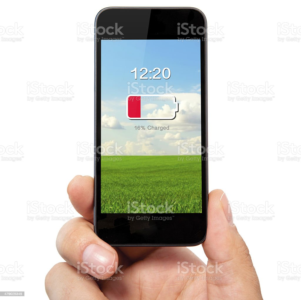 man and holding the phone with low battery royalty-free stock photo