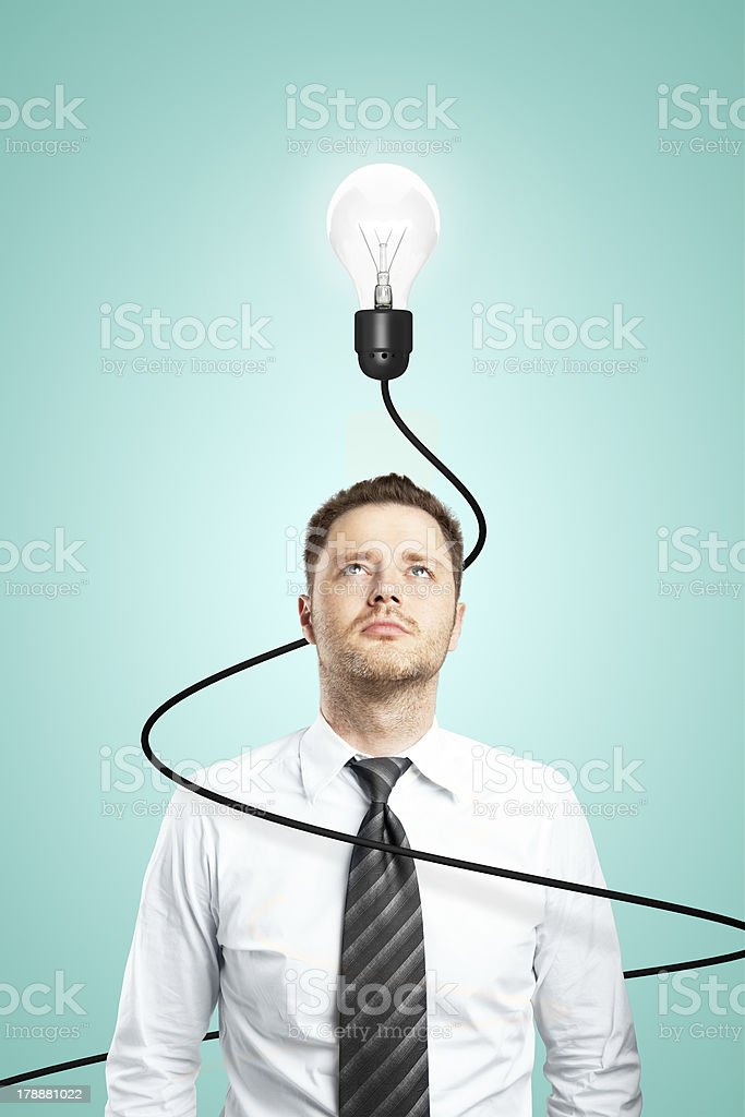 man and lamp with cable royalty-free stock photo