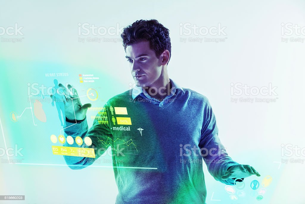 Man and machine as one stock photo