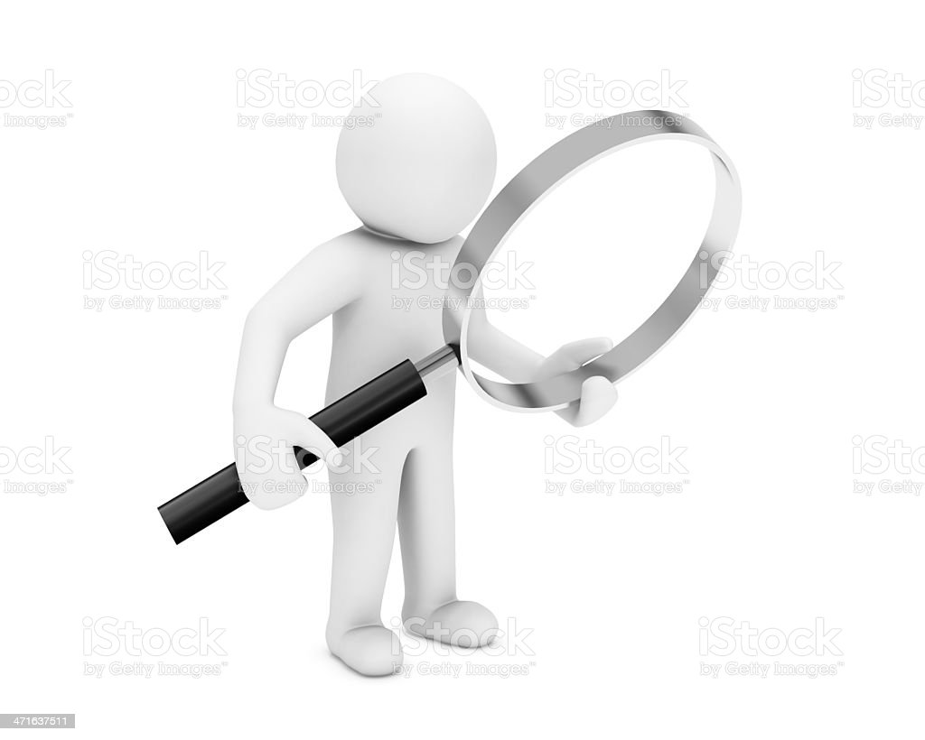 Man and magnify glass royalty-free stock photo