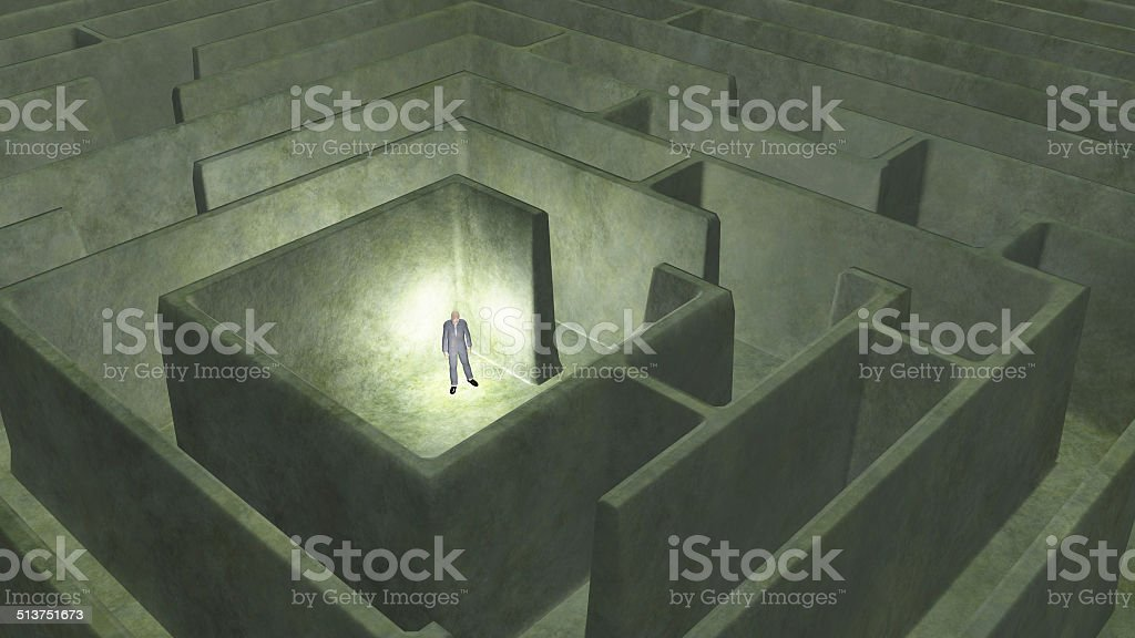Man and maze stock photo