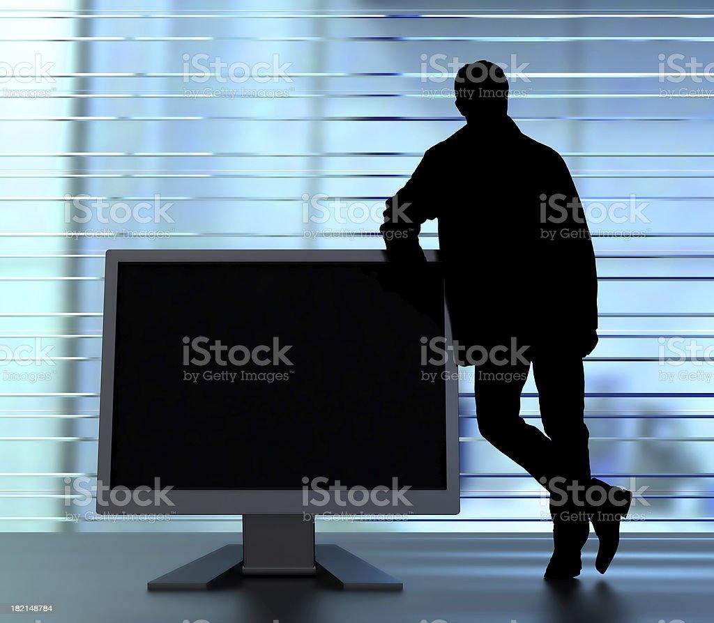 man and monitor royalty-free stock photo