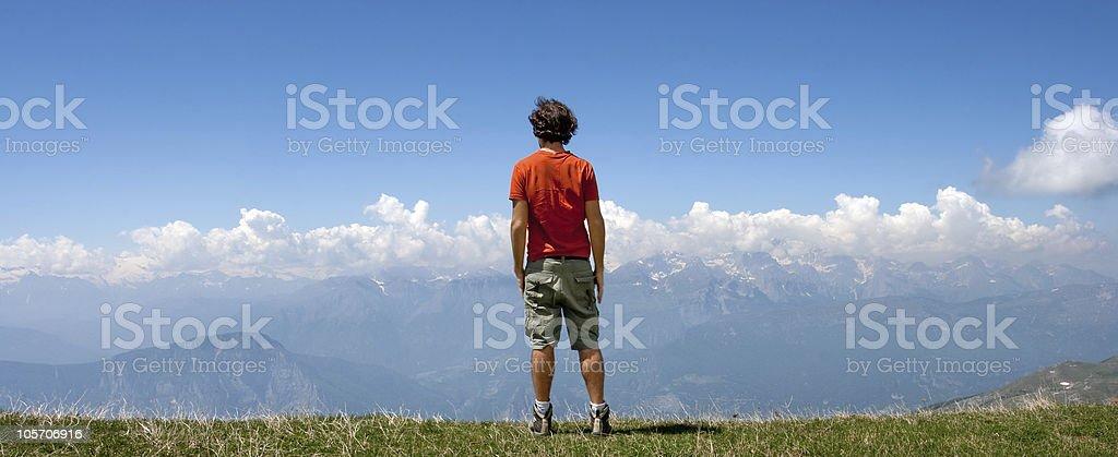 Man and Nature, Italian Dolomites royalty-free stock photo