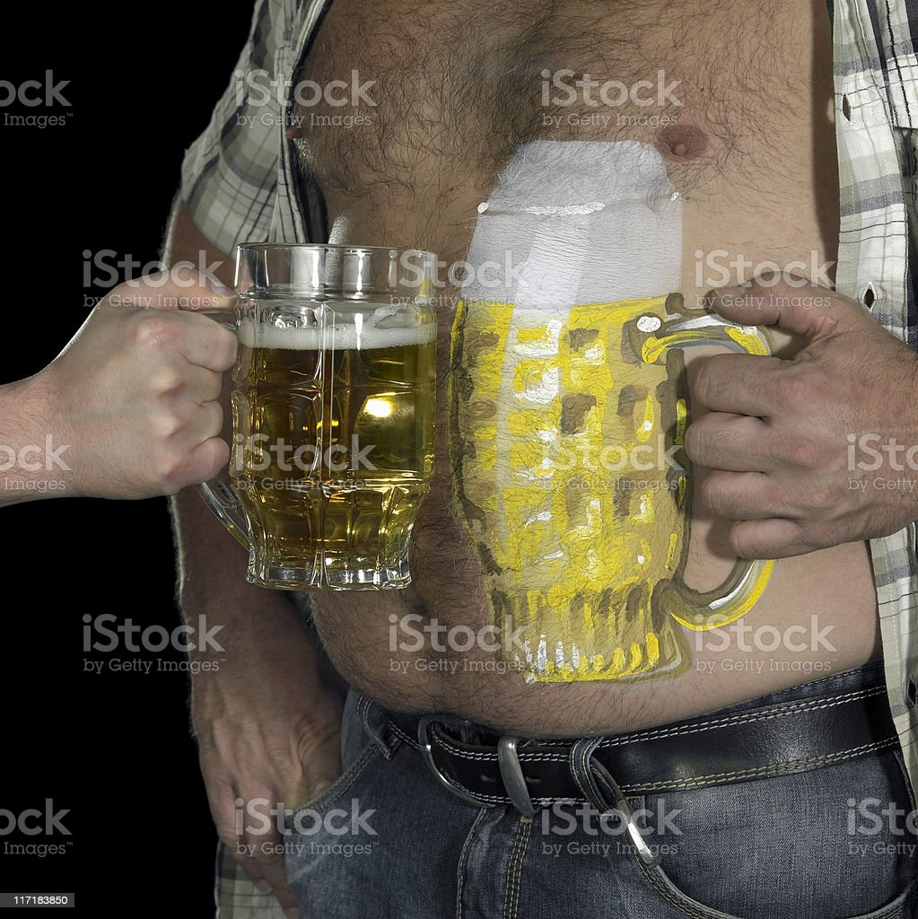 man and painted beer belly royalty-free stock photo