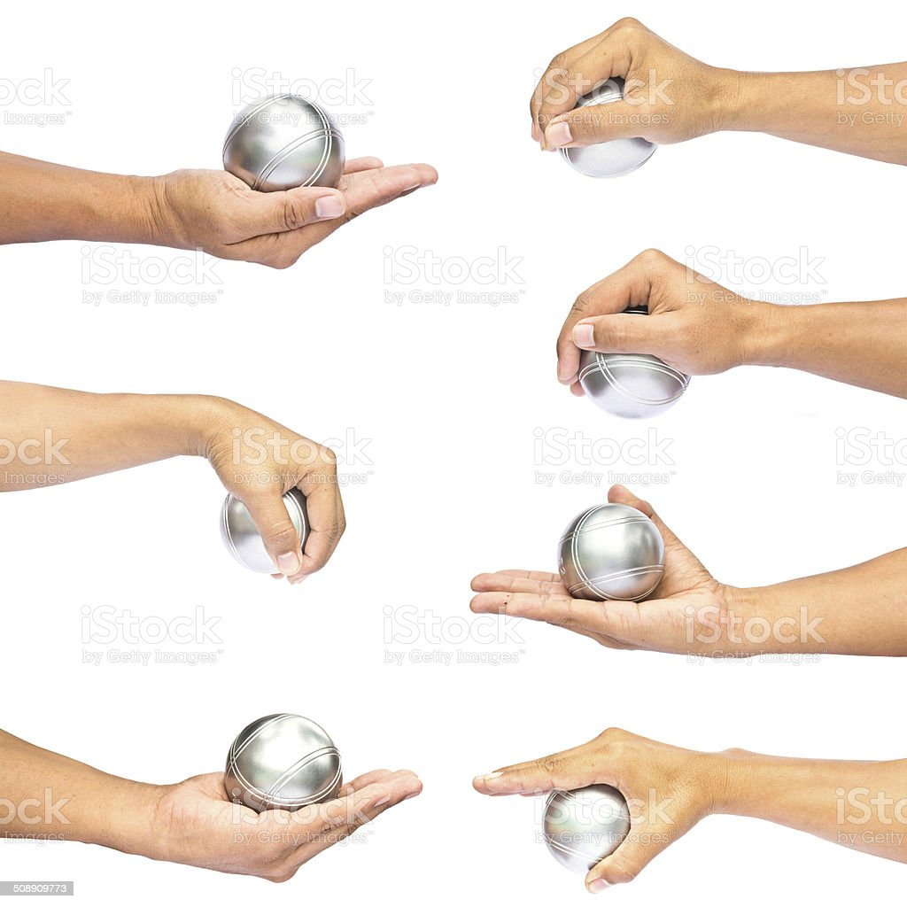 Man and petanque ball in hand on white background stock photo