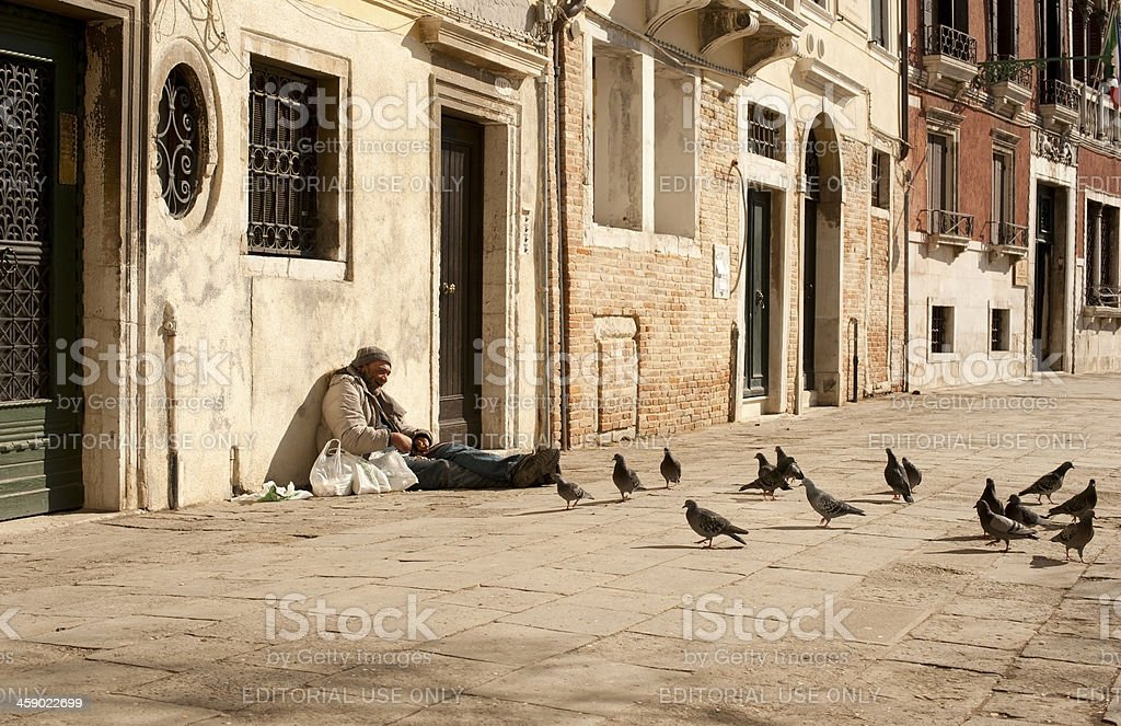 Man and Pigeons royalty-free stock photo
