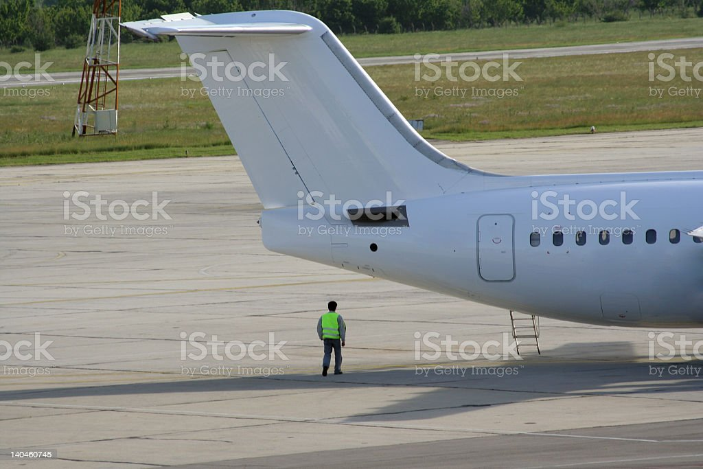 man and plane royalty-free stock photo