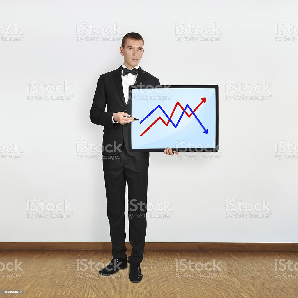 man and plasma with graph royalty-free stock photo