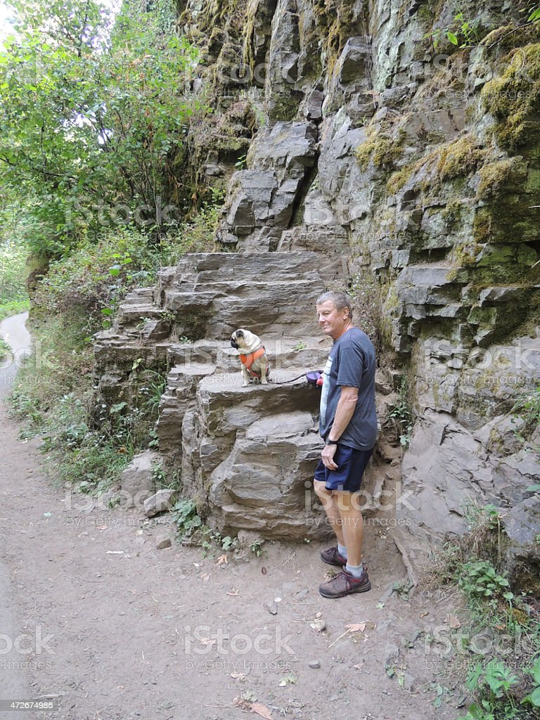 Man and Pug Dog  Near a rocky outcropping hiking stock photo