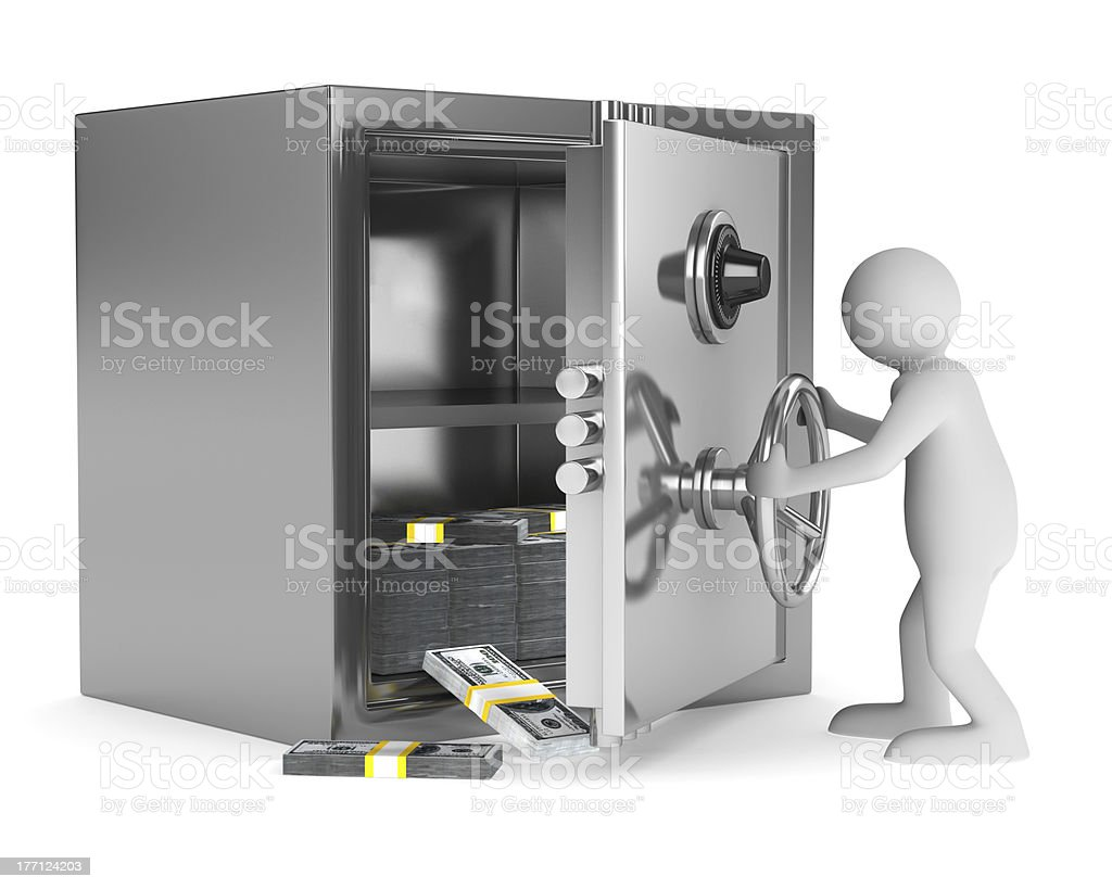 man and safe on white background. Isolated 3D image royalty-free stock photo