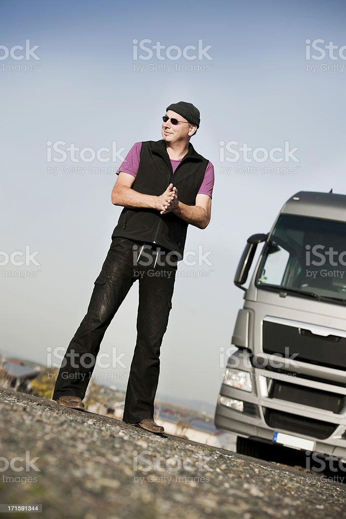 Man and semi truck royalty-free stock photo
