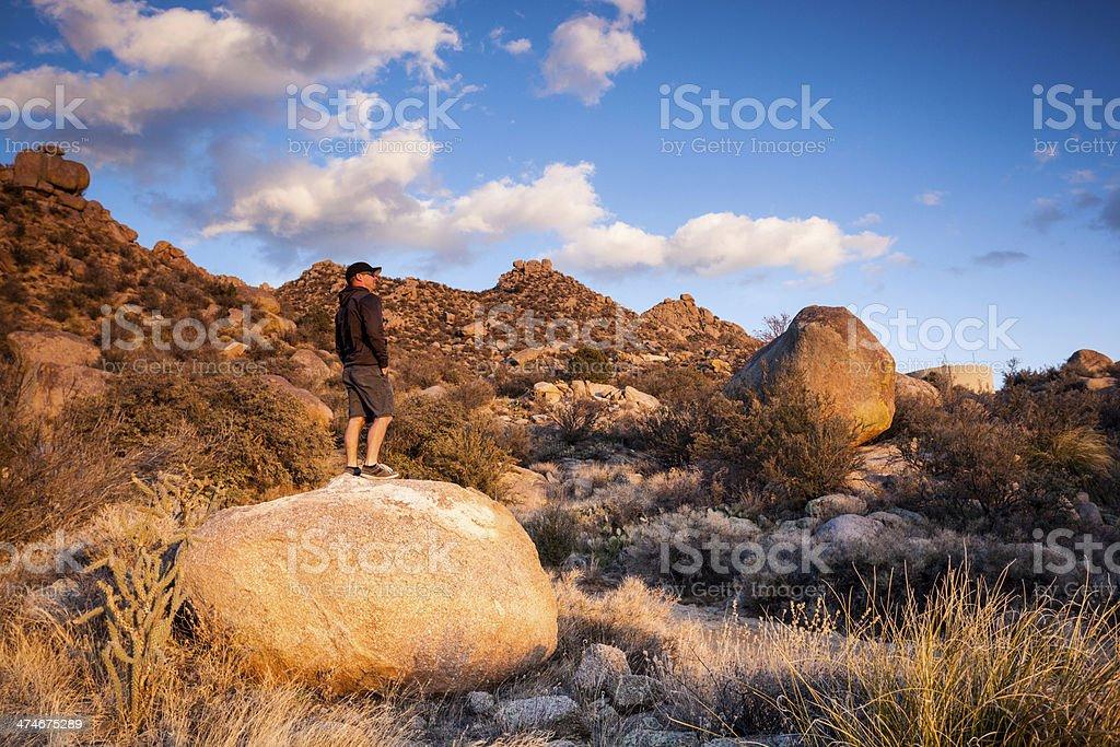 man and southwest landscape sunset royalty-free stock photo