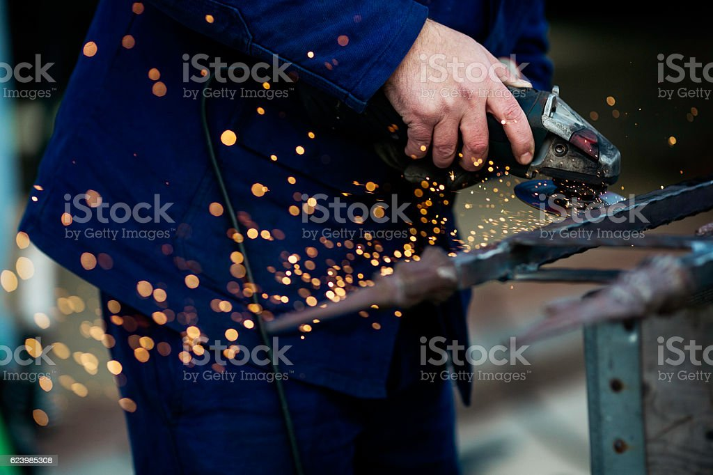 Man and steel stock photo