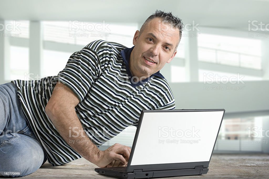 Man and the computer royalty-free stock photo