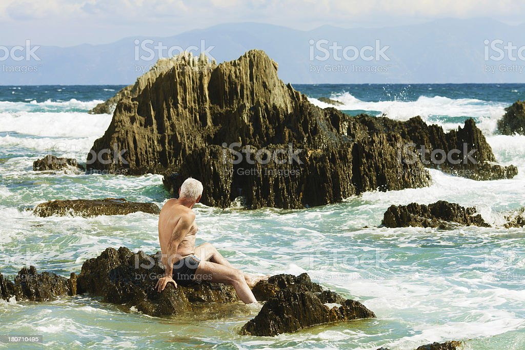 Man and the sea royalty-free stock photo