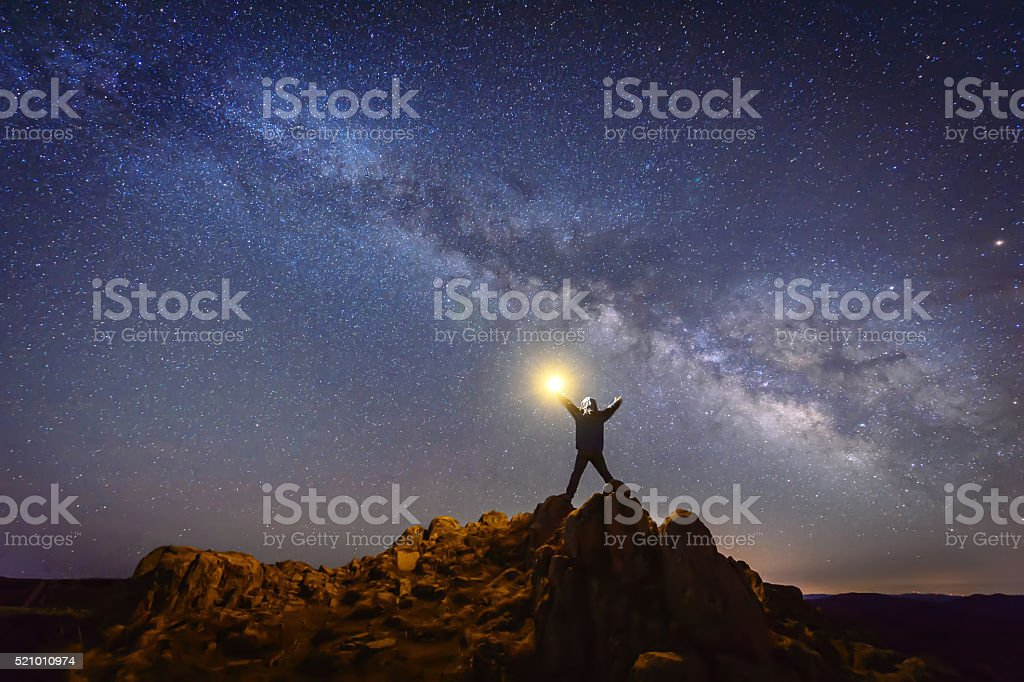 Man and the Universe stock photo