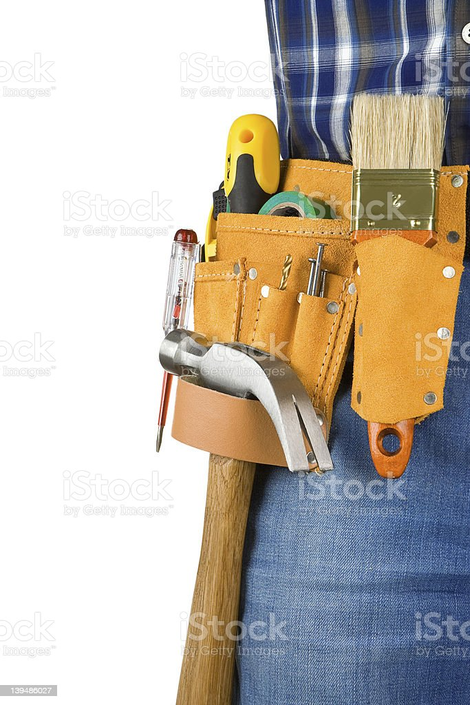 man and tools in leathern belt isolated royalty-free stock photo