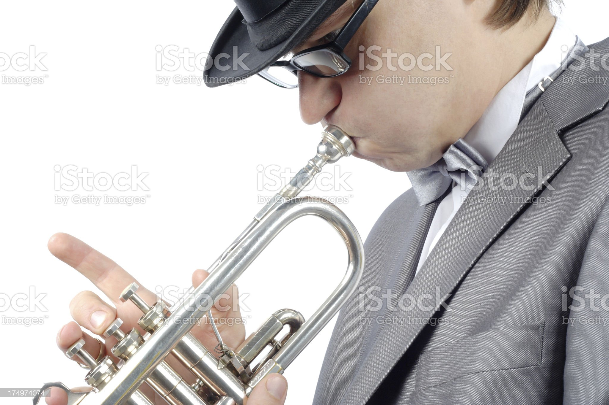 man and trumpet royalty-free stock photo