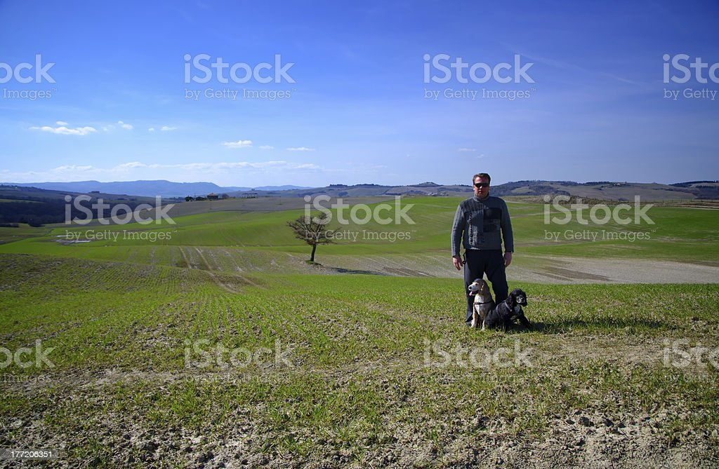 Man and two dogs on the field royalty-free stock photo