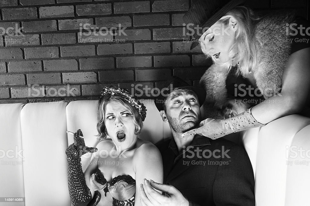 Man and two women. stock photo