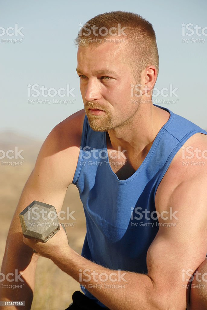 Man And Weight stock photo