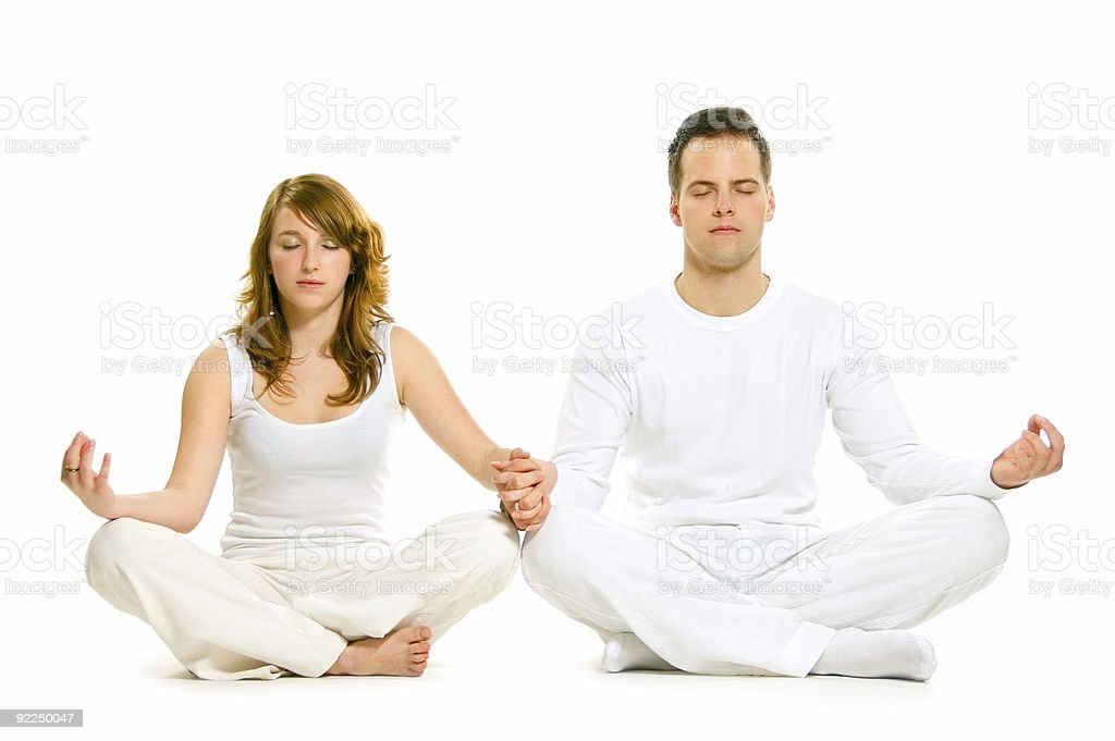 Man and Woman are Doing Leisure exercise royalty-free stock photo