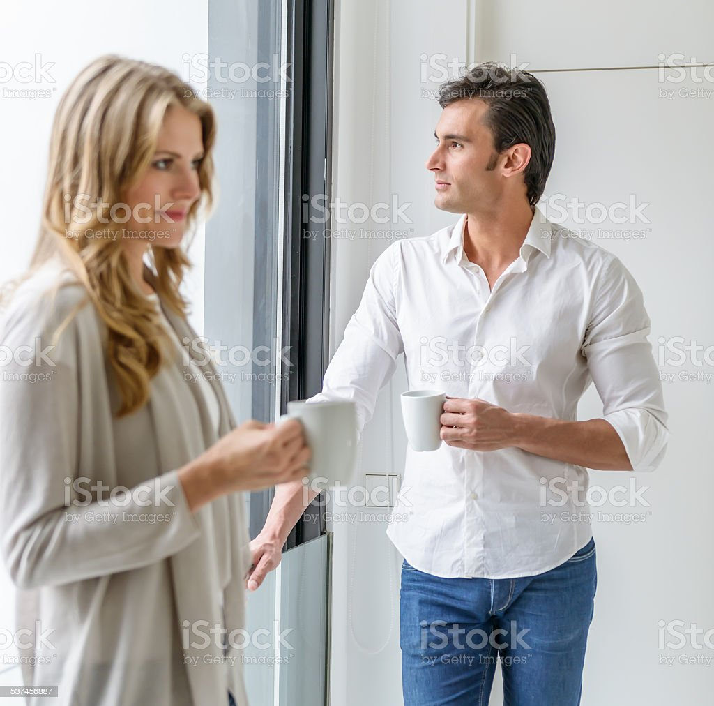 Man and woman at coffee break stock photo