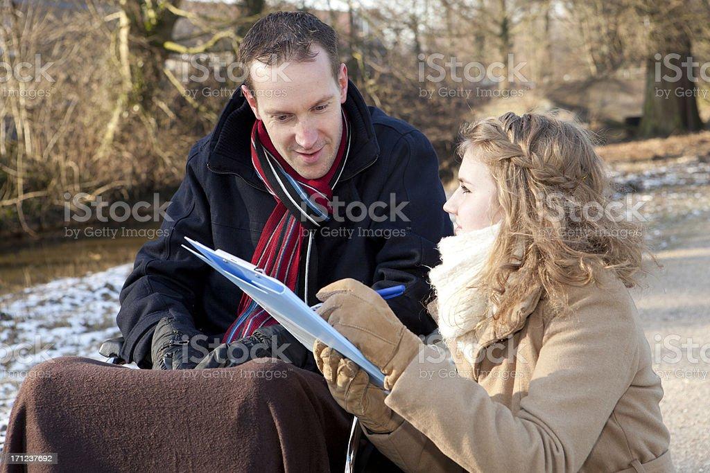 Man And Woman At Park stock photo