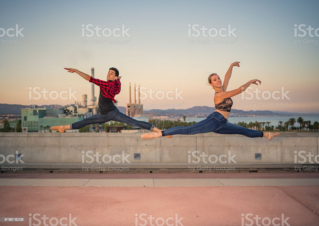 Man and woman ballet dancers stock photo