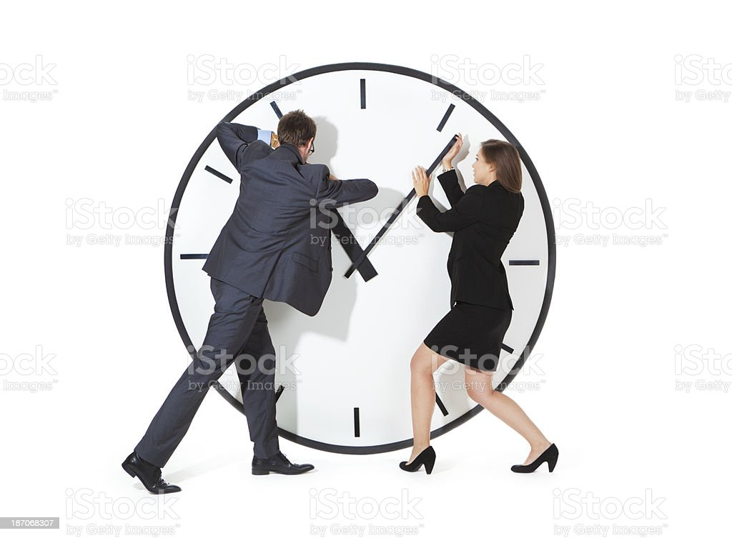 Man and Woman Business Team Struggling with Time Management Deadline royalty-free stock photo