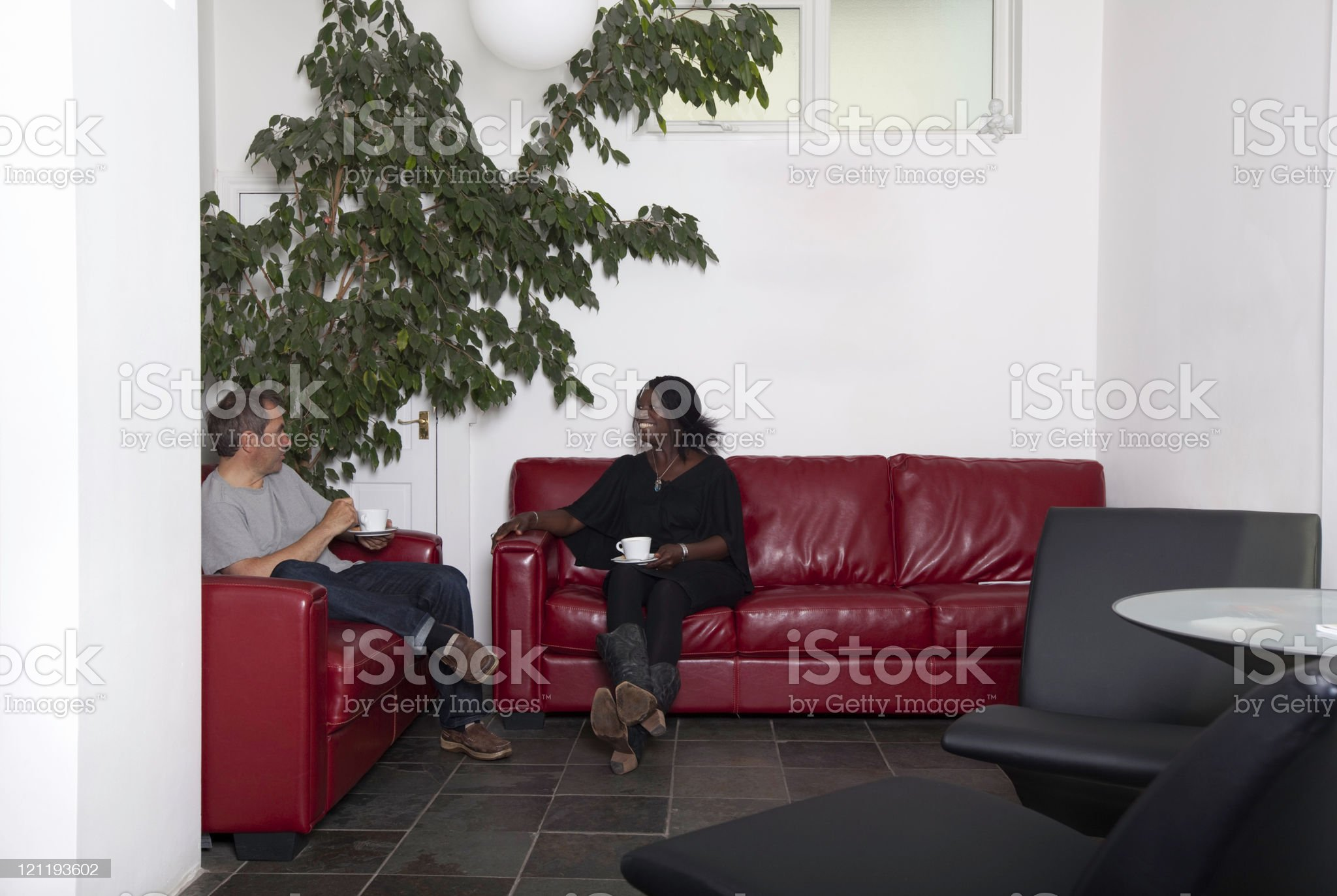 Man and woman chatting royalty-free stock photo