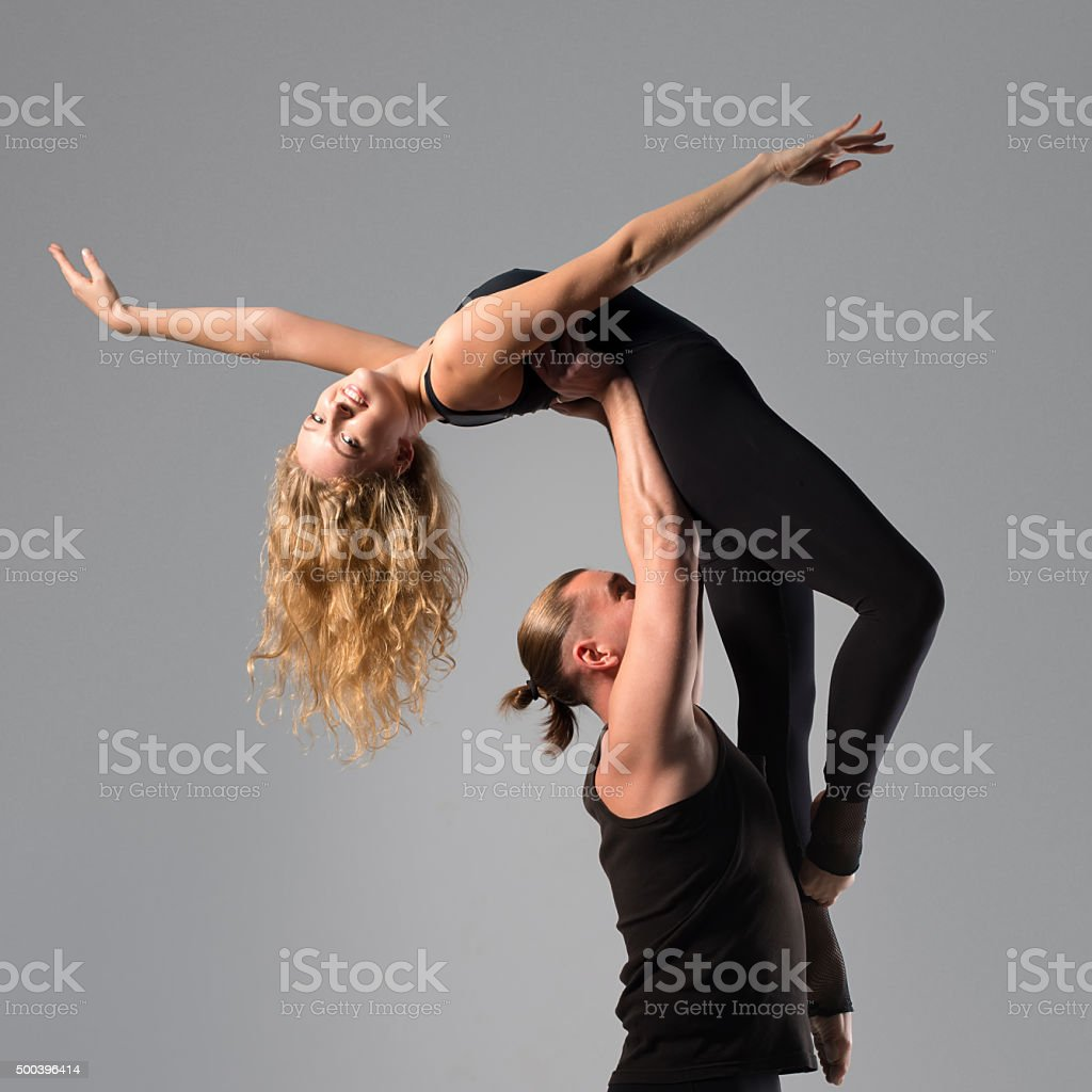 man and woman dancing stock photo