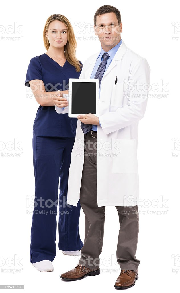 Man and Woman Doctors Digital Tablet Isolated on White Background royalty-free stock photo