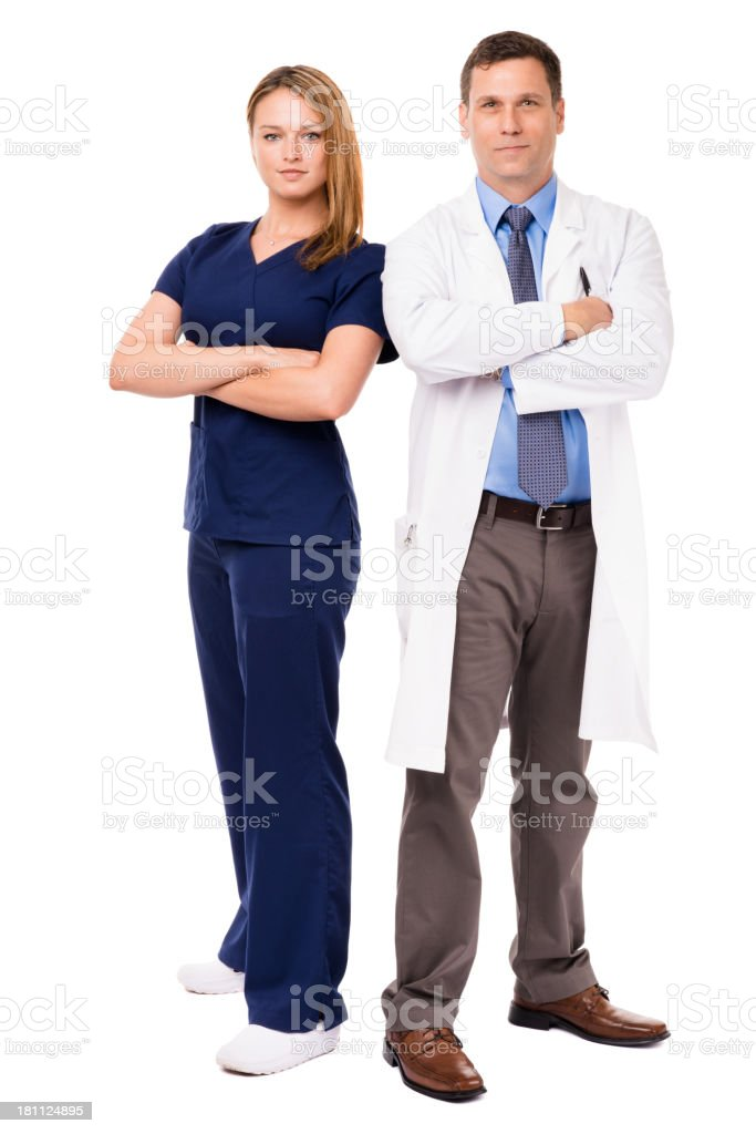 Man and Woman Doctors Isolated on White Background royalty-free stock photo
