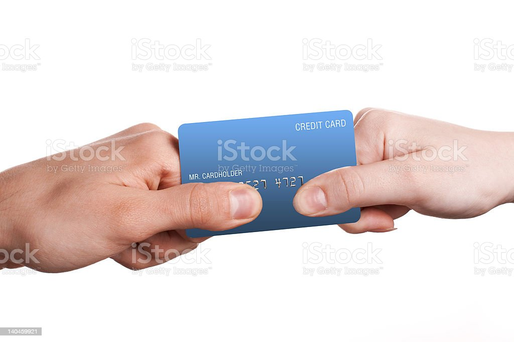Man and woman duel for credit card royalty-free stock photo