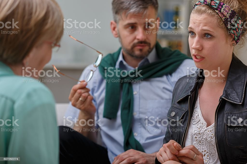 Man and woman during couple therapy stock photo