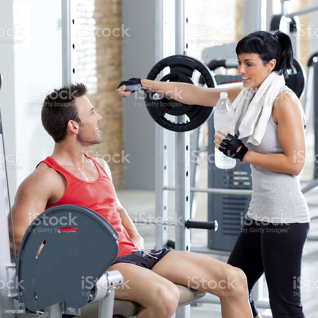 man and woman friends on sport gym relaxed royalty-free stock photo
