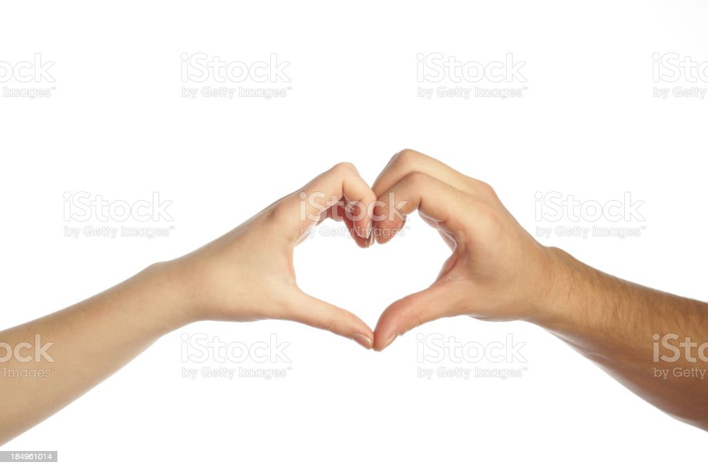 Man and woman hands forming a heart stock photo