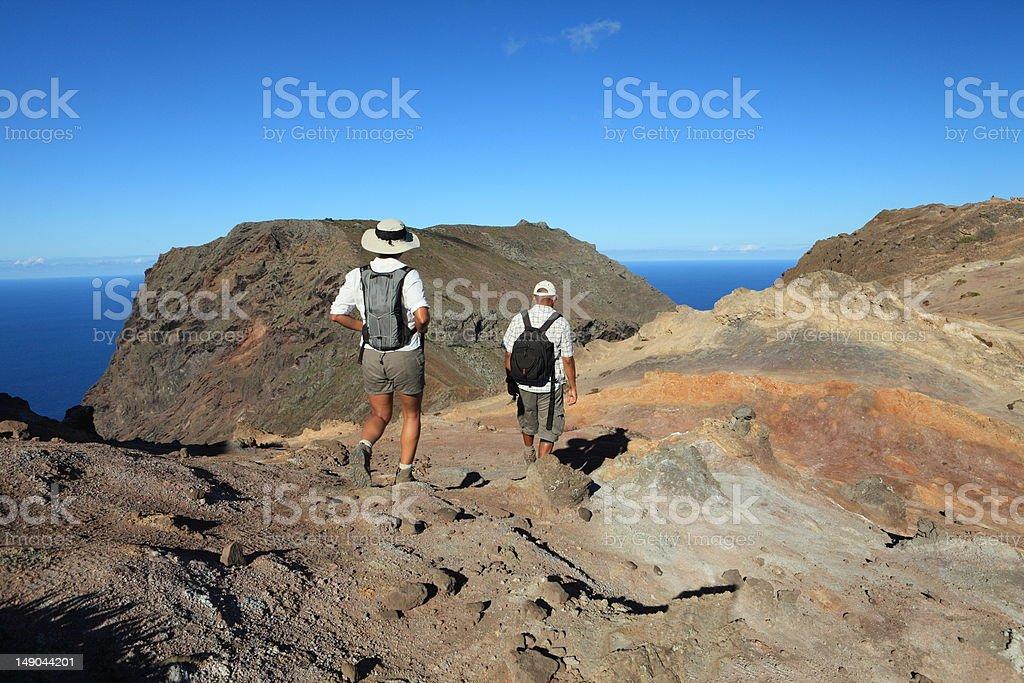 Man and woman hiking The Barn on St Helena Island stock photo