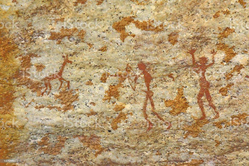 man and woman hunting animal bushman's tribal wall artwork stock photo