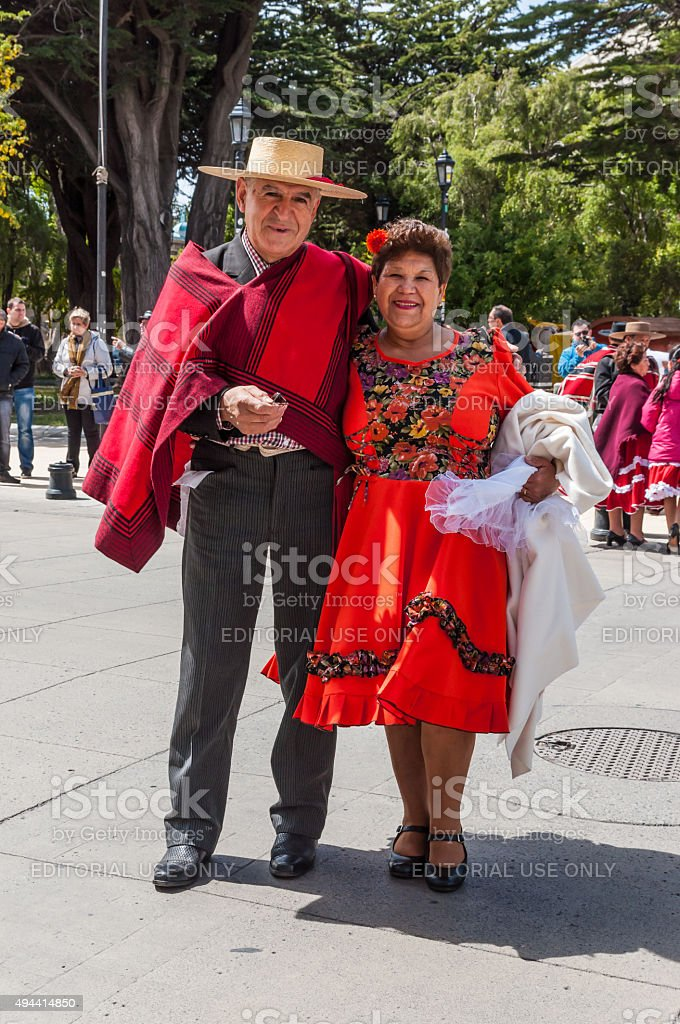 Man And Woman In Chilean Clothing stock photo