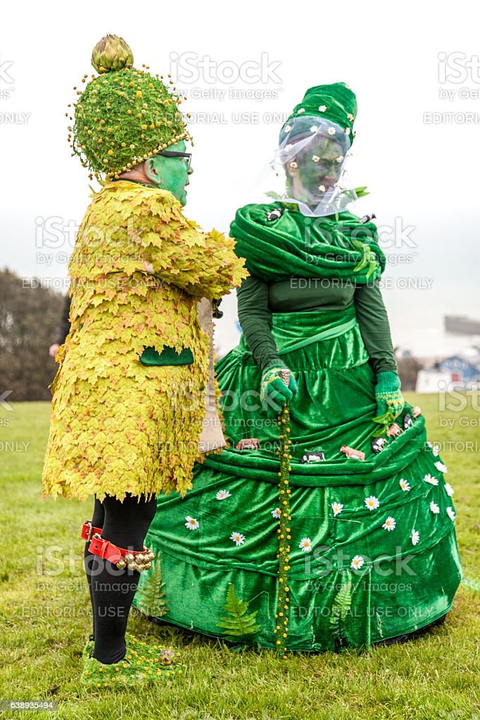 Man and woman in costume at Hastings' annual Jack-in-the-Green festival stock photo