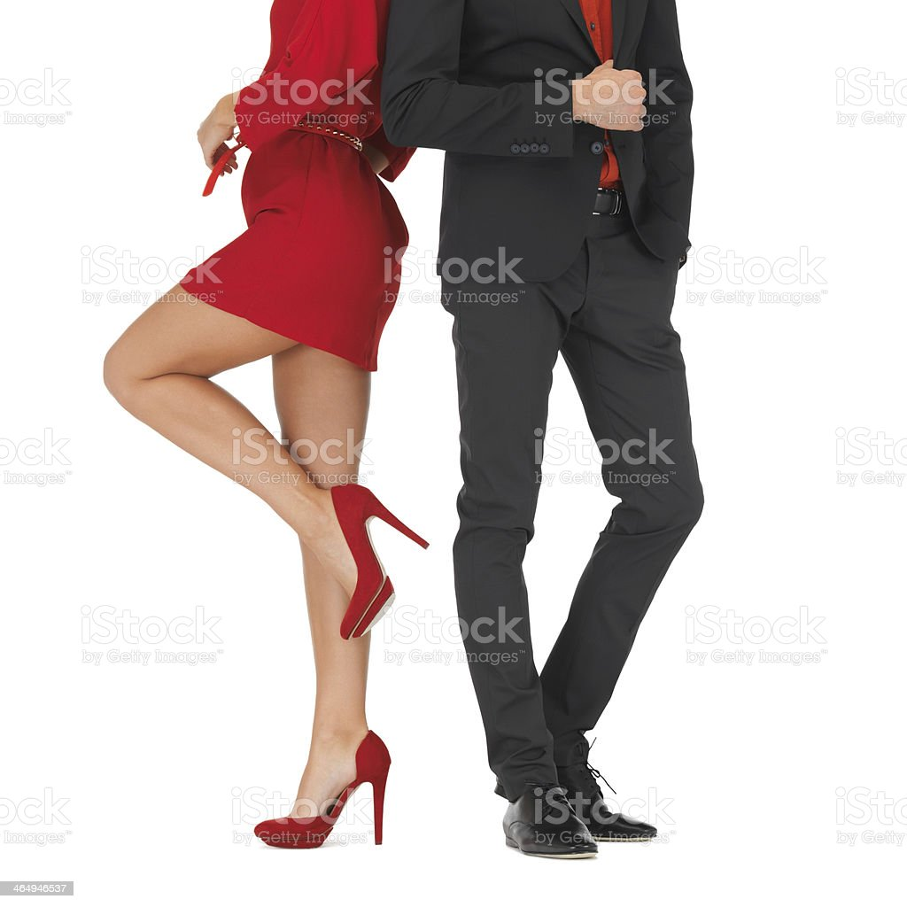 man and woman in fancy clothes stock photo