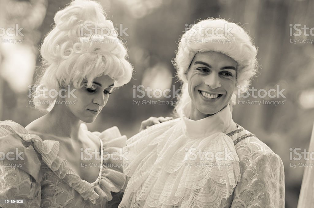 Man and Woman in Old French Costumes stock photo