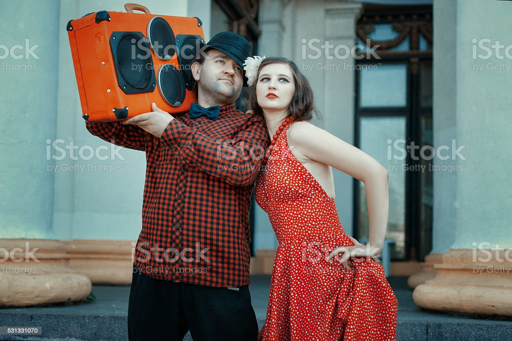 Man and woman in retro style. stock photo
