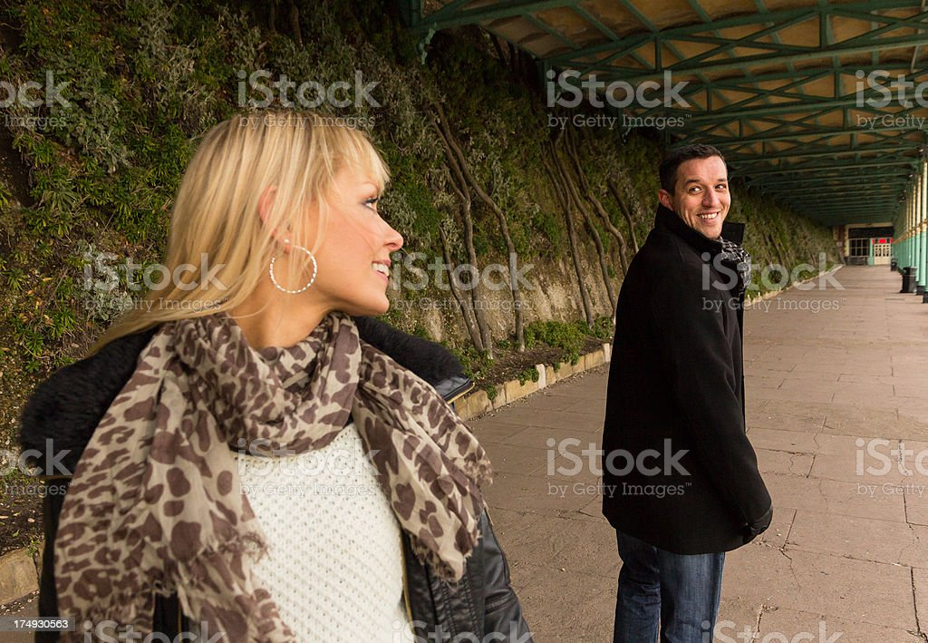Man and woman instant attraction stock photo